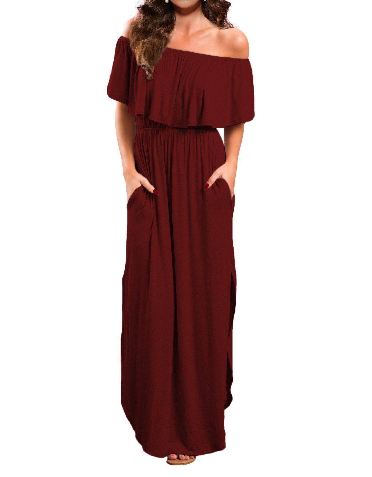 ba2c04aa1de5 VERABENDI Womens Off Shoulder Summer Casual Long Ruffle Beach Maxi Dress  with Pockets Burgundy Medium     See this great product.