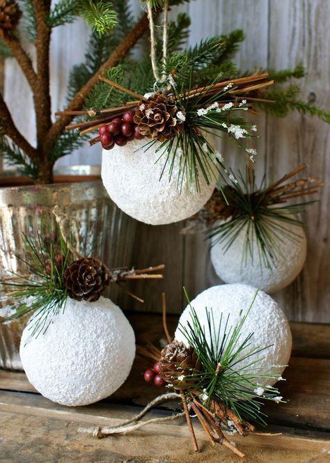 styroporkugeln kunstschnee basteln ideen schöne weihnachtsdeko #weihnachtsdeko  #christmas #christmasornaments