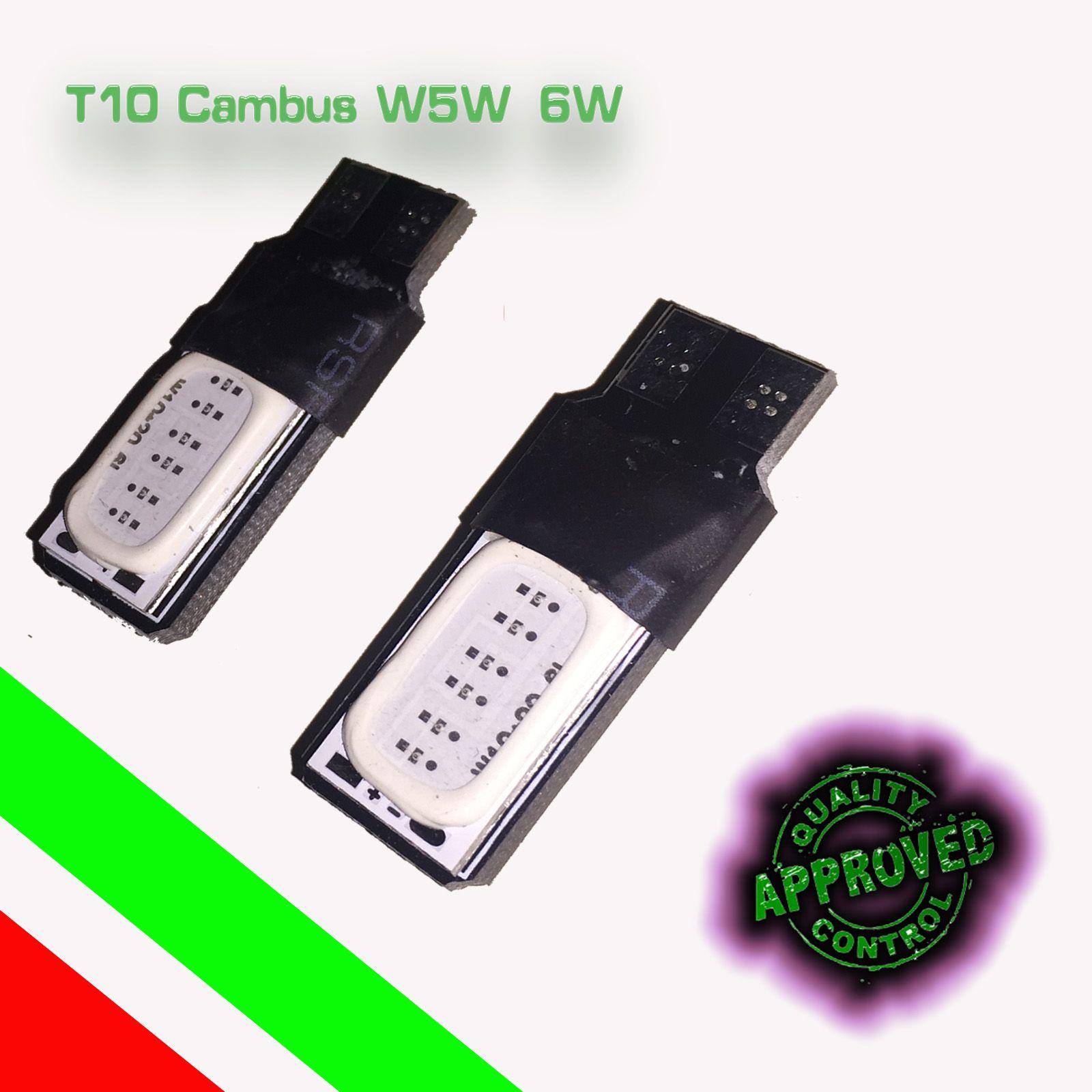 4 lampade auto led t10 w5w cob smd canbus no error luce
