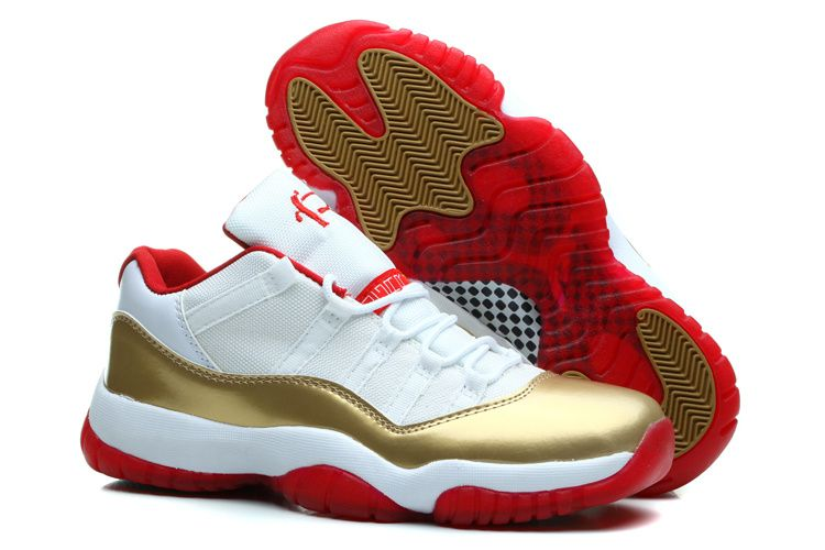 2a331d28a3a465 Air Jordan 11 Retro Low Two Rings White Metal Gold-Red Men s Shoes ...