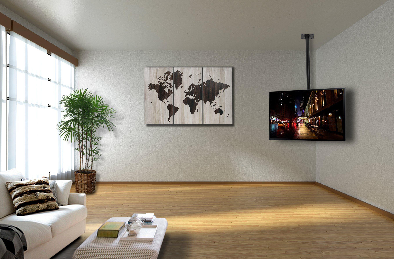 Black Tv Flat Ceiling Mount Adjustable Height Tilt For 26 To 55