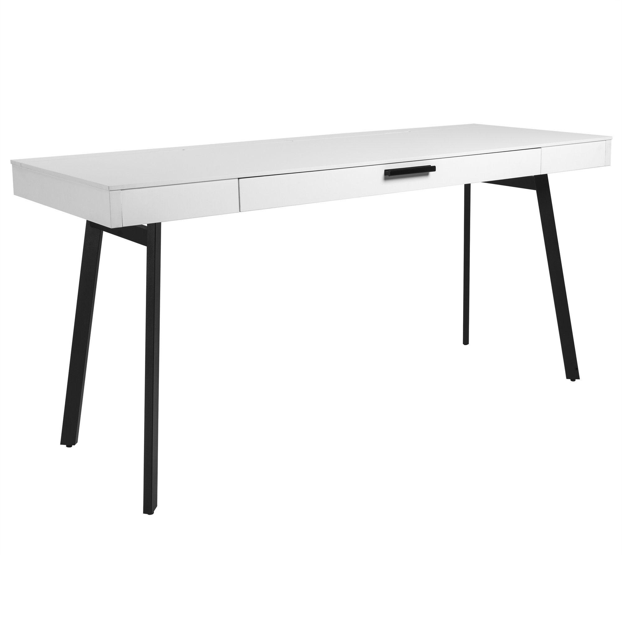 63 Modern White Office Desk W Black Legs Officedesk Com Modern White Desk White Desk Office Office Desk