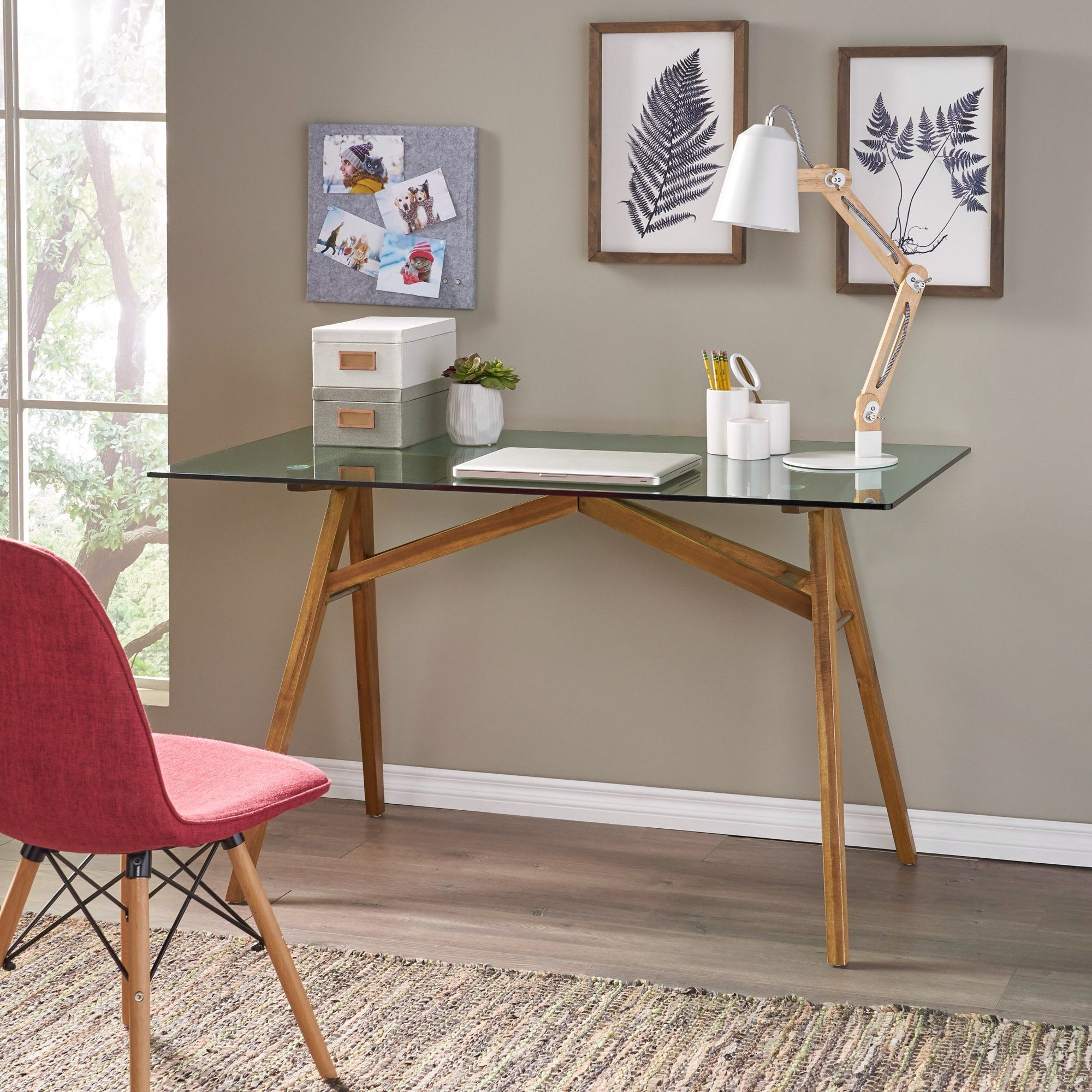 Noble House Brynnly Mid Century Acacia Wood Desk With Tempered Glass Top Natural And Green Walmart Com In 2020 Acacia Wood Desk Mid Century Modern Desk Glass Desk