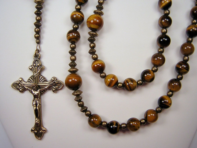 Mens Rosary XL Catholic Christmas Gift Gemstone 25+ inch Gen Tiger ...