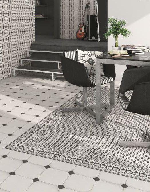 tapis version motif carreaux de ciment parquet. Black Bedroom Furniture Sets. Home Design Ideas