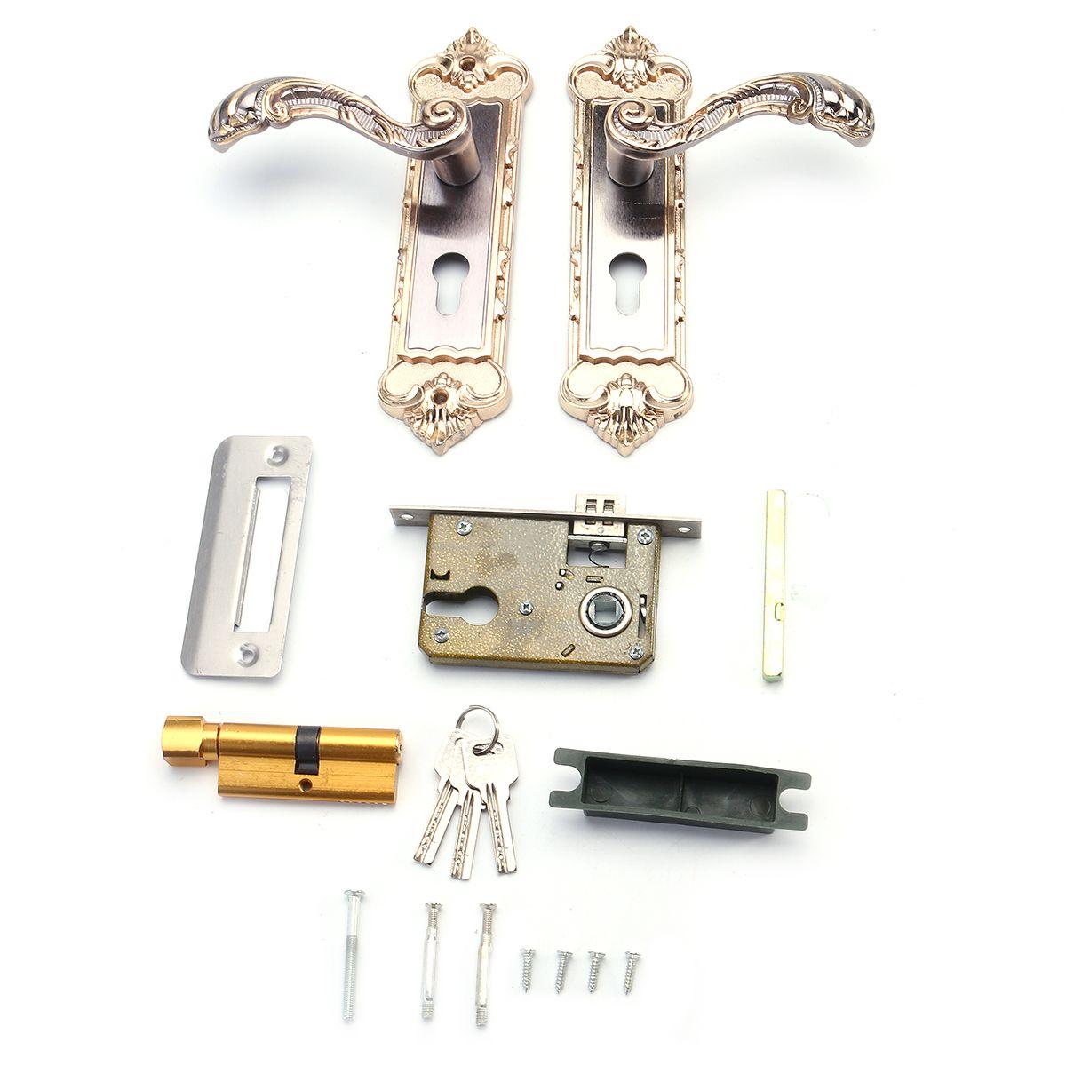 Mechanical Interior Door Handle Cylinder Lock Lever Latch Home Security Set Lever Latch Door Handles Doors Interior