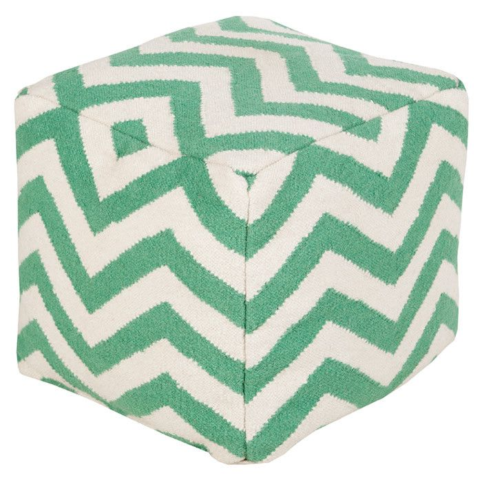 Zara Chevron Mint Pouf