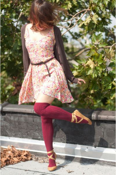 floral dress - brown H sweater - maroon over the knee American Apparel socks