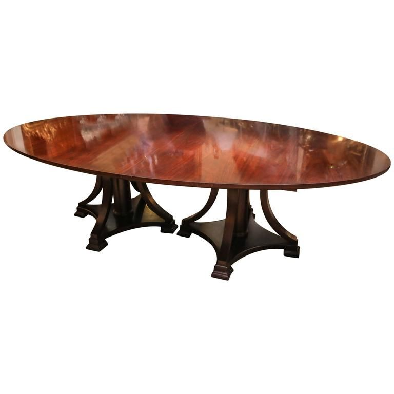 Large Oval Dining Table Double Pedestal Mid Century