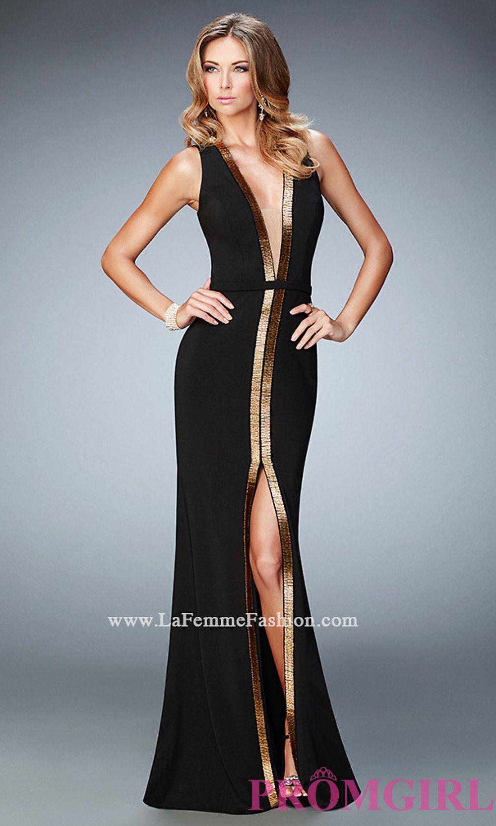 Low V-neck Open Back La Femme Prom Dress Style: LF-22256   Dresses ...