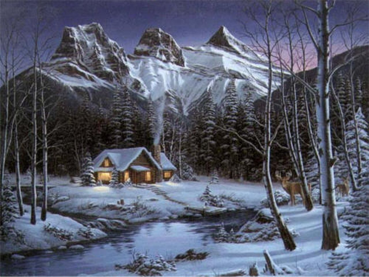 Old Paintings of Cabins Winter Cabin Paintings, cabin in ...