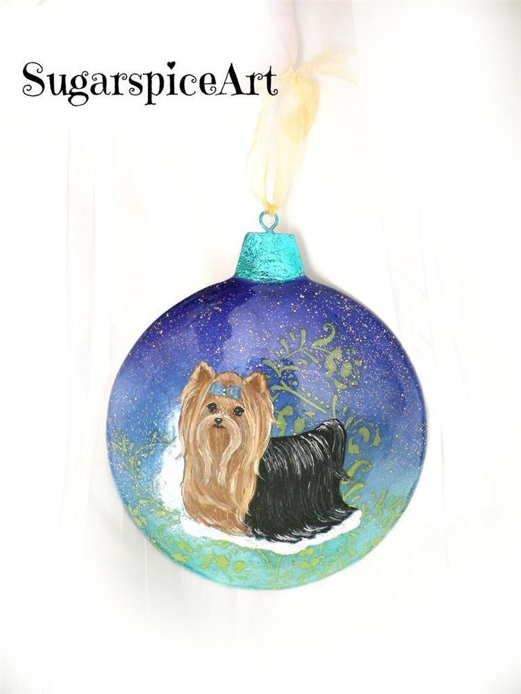 Yorkie Blue Christmas Metal Unbreakable Ornament Decoration By