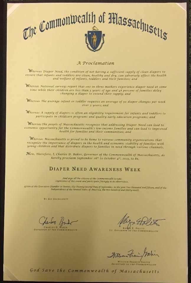 Massachusetts Governor Charlie Baker's proclamation recognizing Diaper Need Awareness Week (Sept. 28 - Oct. 4, 2015) #DiaperNeed www.diaperneed.org
