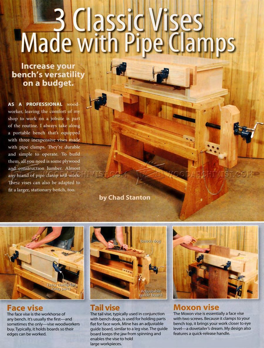 2786 Diy Pipe Clamp Vise Workshop Solutions Woodworking