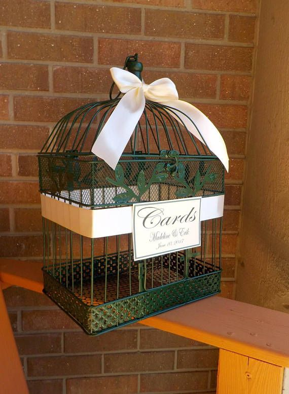 large dark green wedding card box birdcage money holder