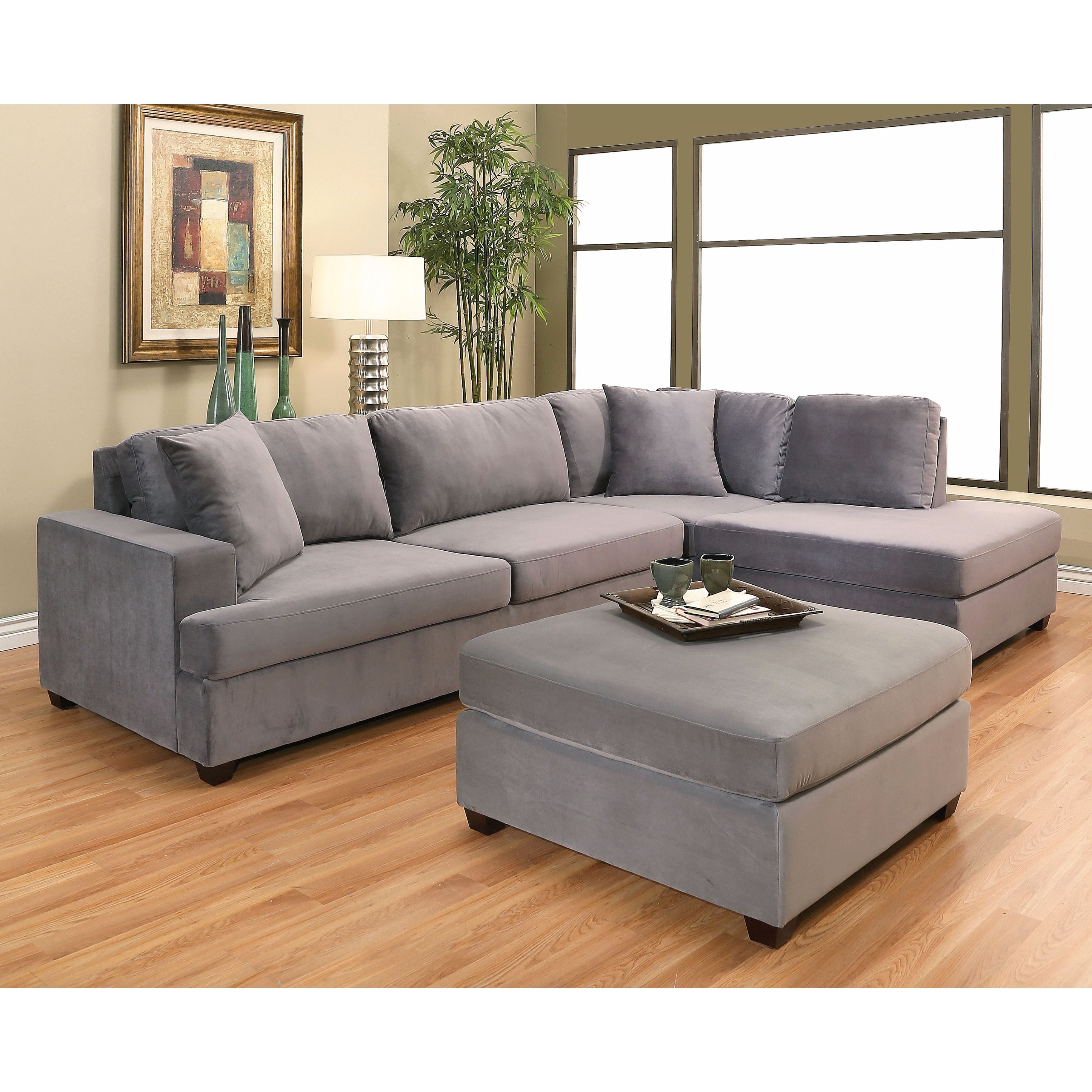 Grey Taupe Fabric Faux Suede Microfiber Velvet Sectional Sofas