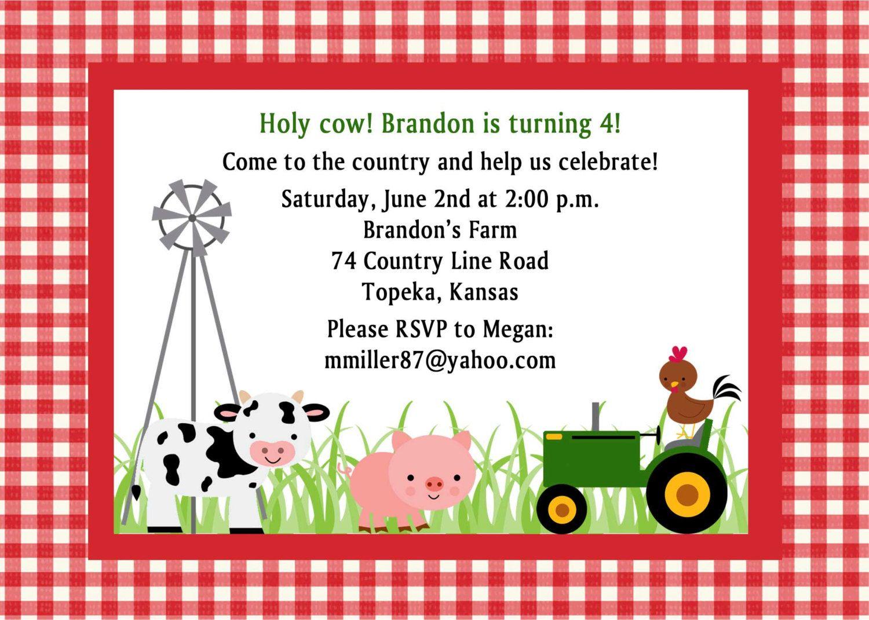 Custom Farm Birthday Party Invitation-Or Baby Shower--Custom colors ...