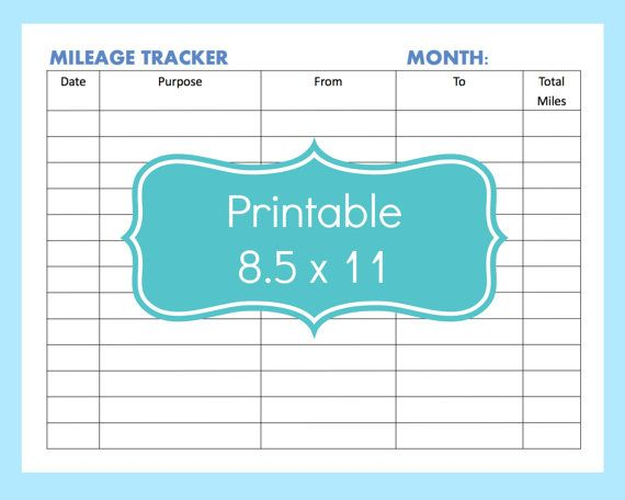 Mileage Tracker Form Printable, Printable Mileage Tracker, Mileage