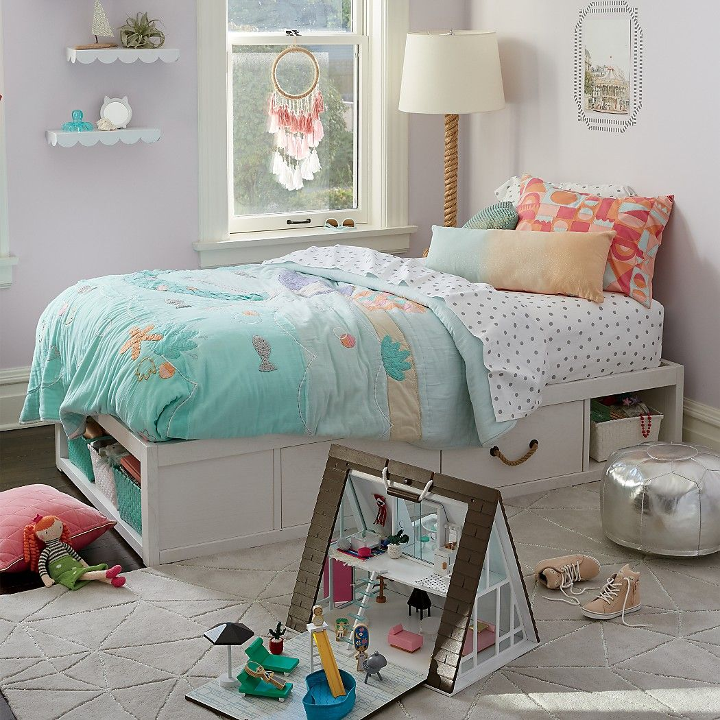 Topside Storage Kids Bed (White) | Crate and Barrel | Room ...