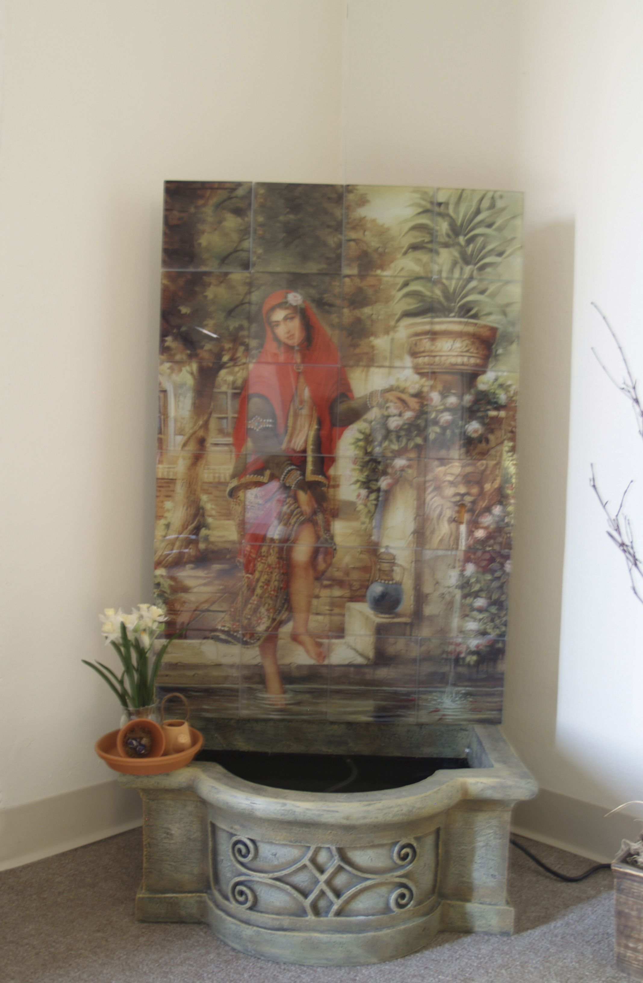 Water fall, Persian girl by the water on glass tiles