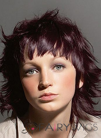 Chic Capless Short Wavy Brown Indian Remy Hair Wig - love this color
