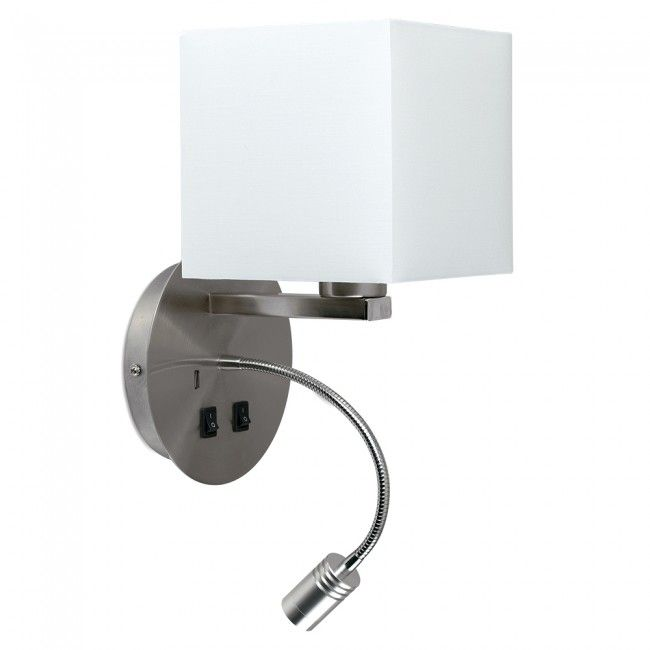 Wall Lamp With Usb Charger : Modern Hotel Wall Light with Reading Light and USB Charger in Brushed Chrome Finish remodel ...
