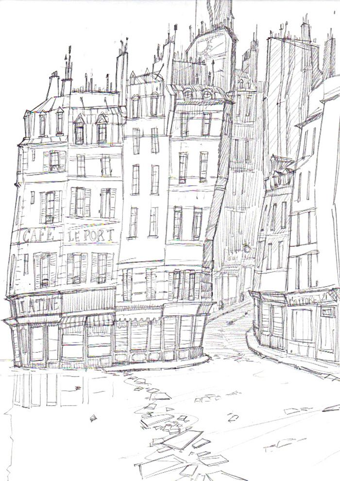 Monstre A Paris 30 Dessin Original Immeubles De Paris Sebastien