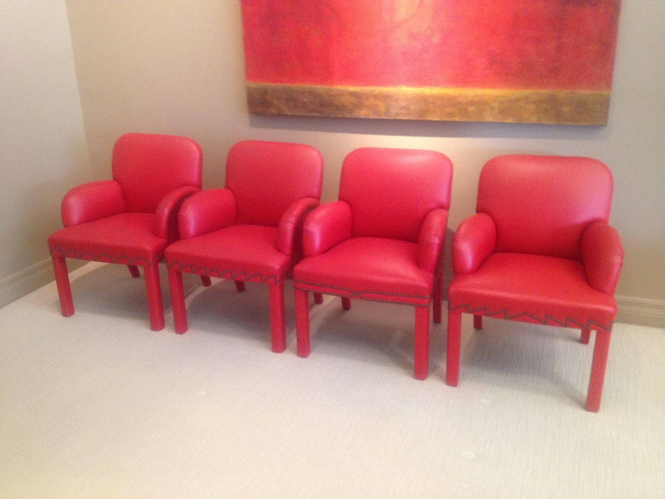 Red Leather Dining Chairs Set Of 4 Dining Chair Set Warm Dining Room Dining Chairs