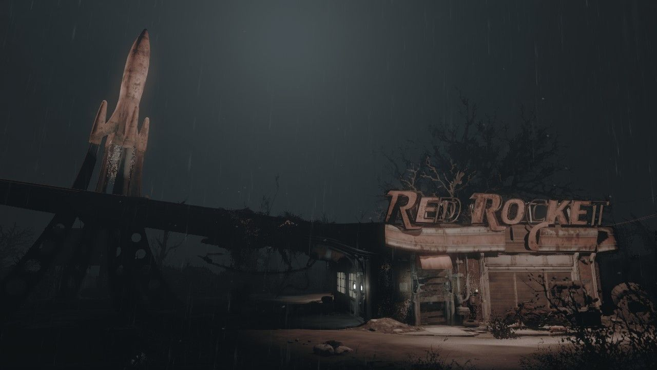 A Screenshot I Took While Ago Of Red Rocket Station During Storm That Has Been My Wallpaper For
