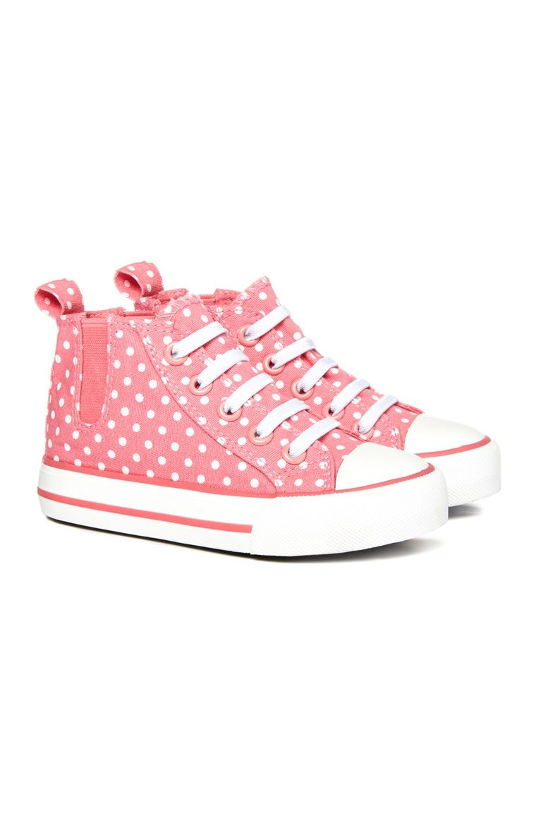 68c099d6d7bb2 Younger Girl Pink Poka Dot Canvas Shoes   Children's Shoes   Pink ...