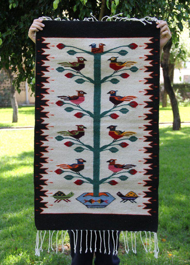 Little Birds Handwoven Mexican Wool Rug Hand Weaving