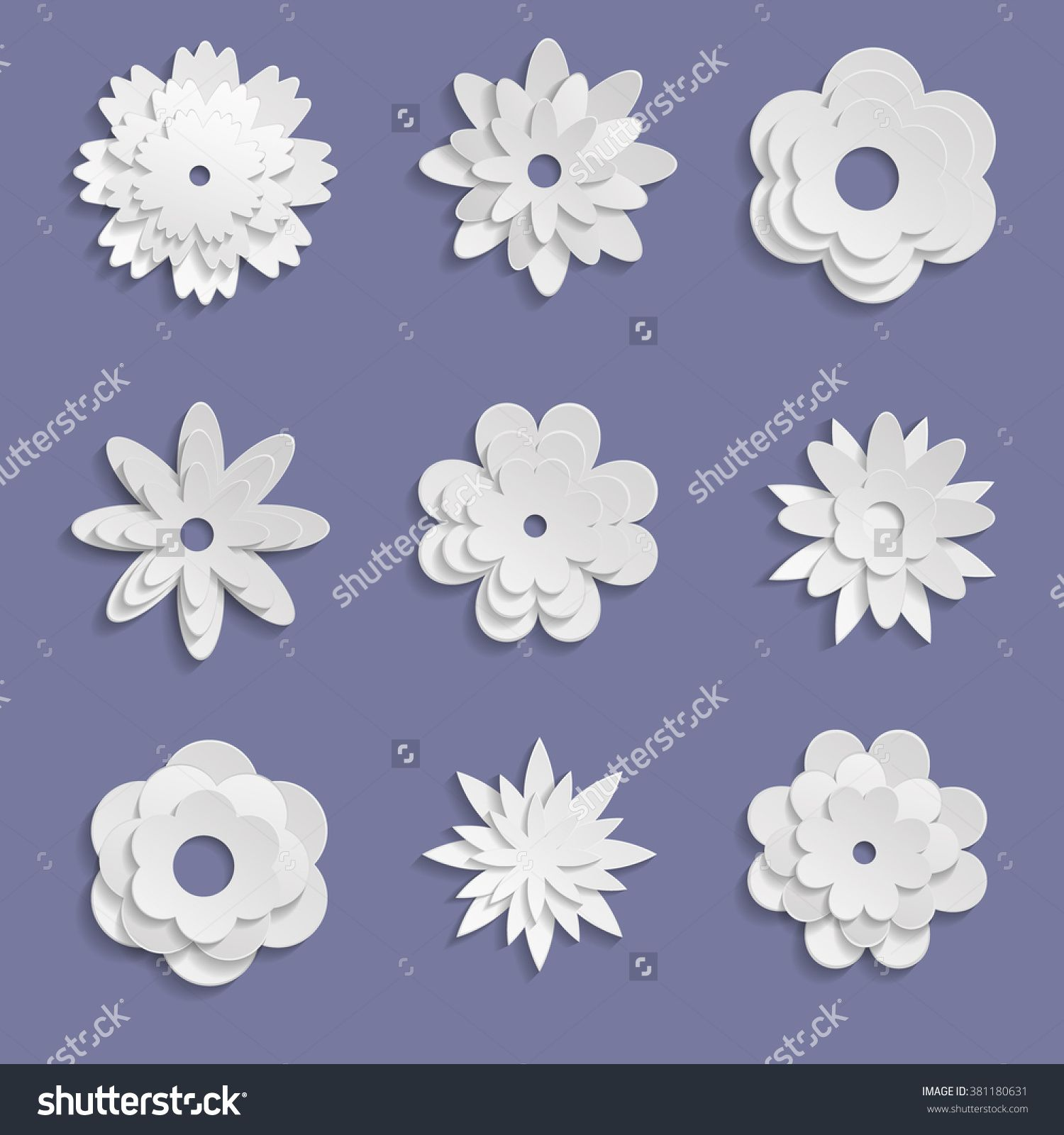 Paper Origami Flowers On Violet Background Inspiration Origami