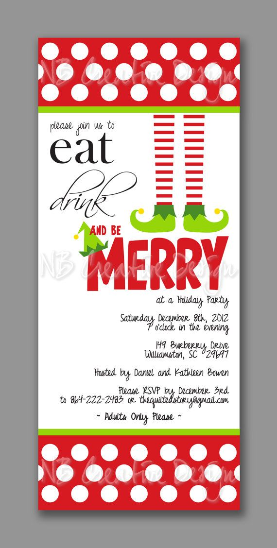 Christmas Party Invitation Little Elf Greens by NBCreativeDesign ...
