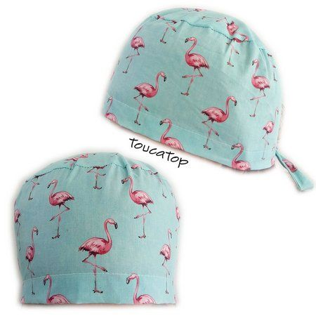 Gorro cirúrgico - Estampa Animal Print - Verde Tiffany com Flamingos Rosas  Touca 21ee73cb3f3