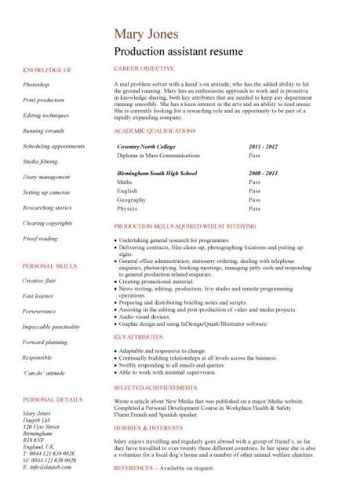 Production Manager Resume Television - http\/\/wwwresumecareer - resume for student with no experience