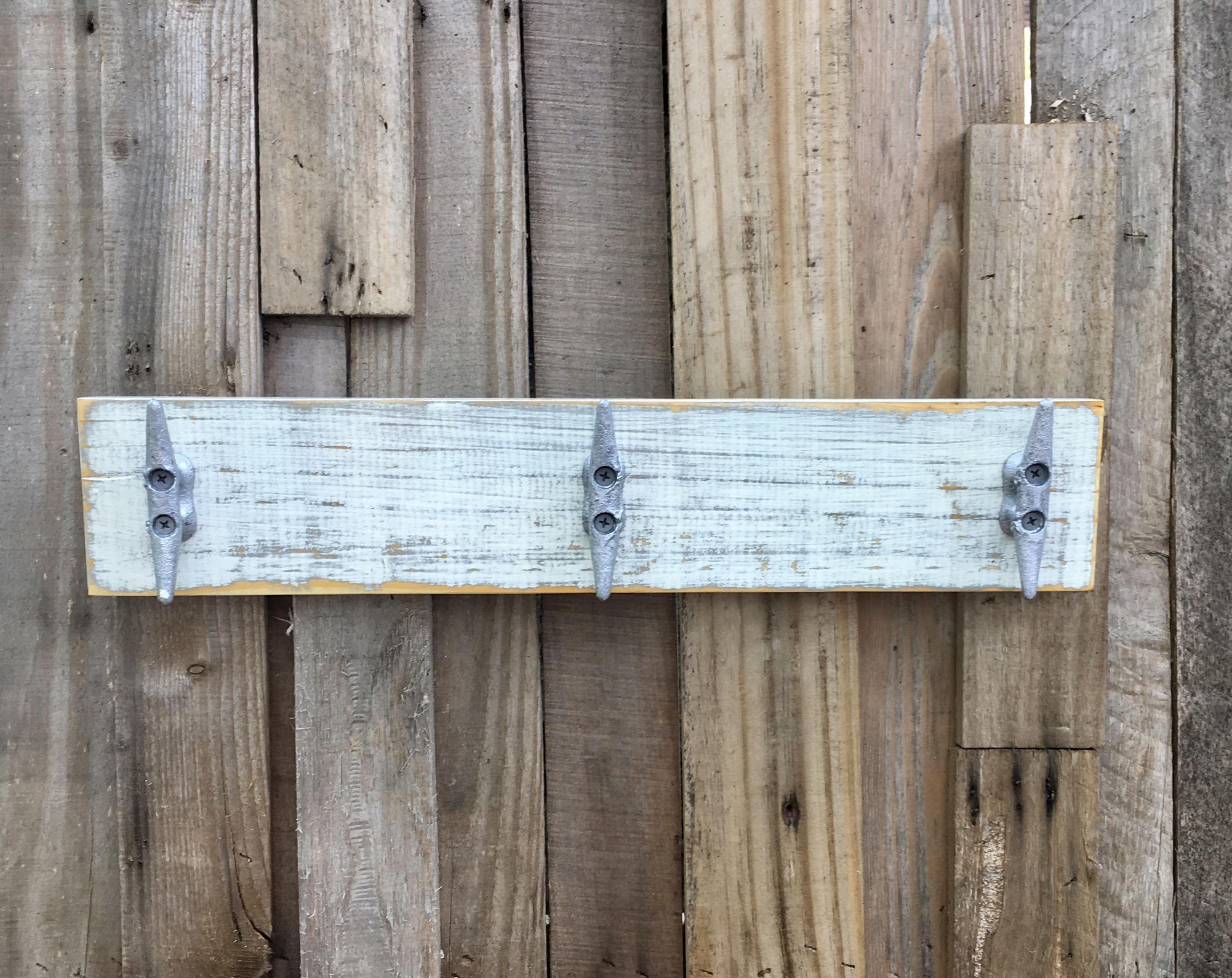 Boat Cleat Coat Rack Nautical Towel Rack Book Bag Rack Hat Rack Key Rack Distressed White Over Gray With Images Boat Cleats Towel Rack Bag Rack