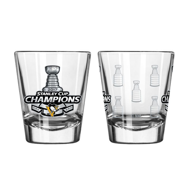 Pittsburgh Penguins 2oz. 2017 Stanley Cup Champions Satin Etch Shot Glass