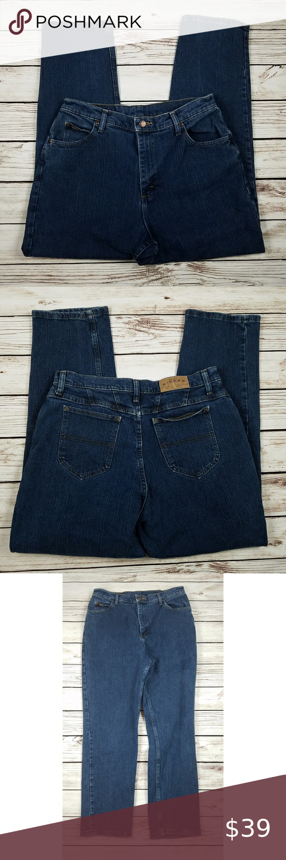 Vintage Riders High Waisted Tapered Mom Jeans - Size 16P - Medium Wash - High Rise - Excellent Used Condition  - Waist: 32