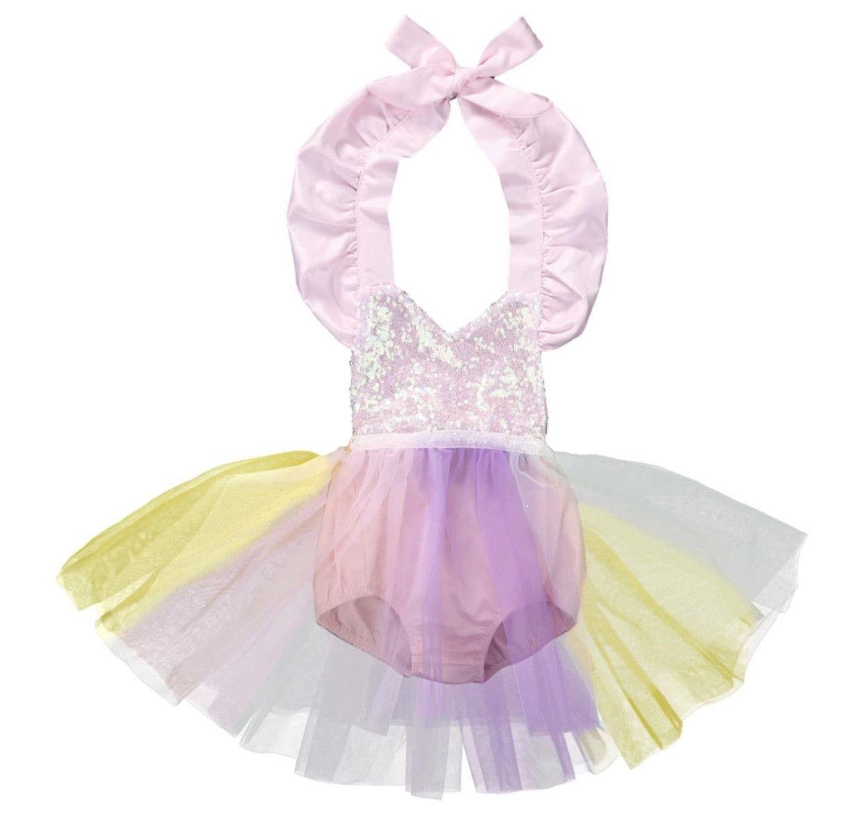 9f4e2656f2d Girls Sequin Romper Tutu Dress Unicorn Princess