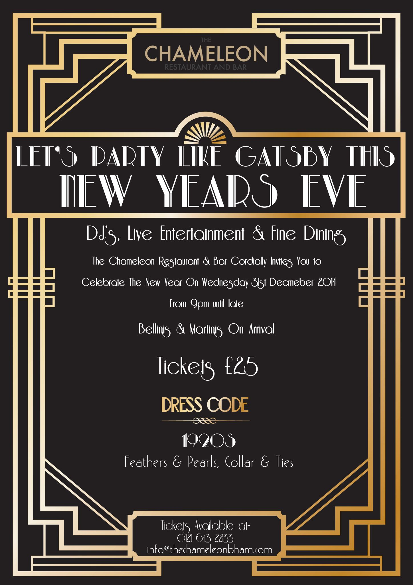 New Years Eve at The Chameleon Gatsby Style Roaring