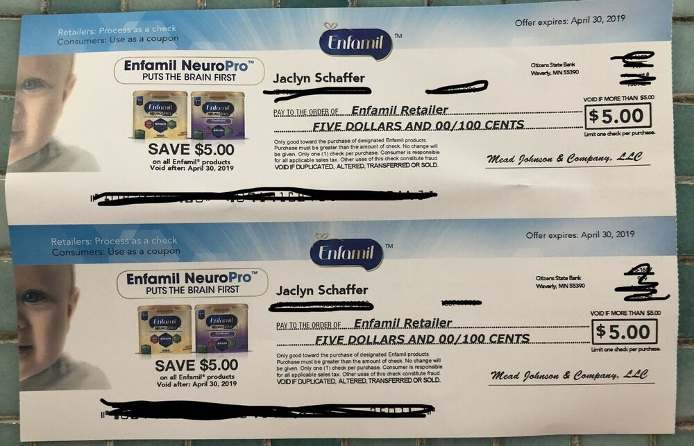 Enfamil Coupons 10 Worth Checks Expires 4 30 2019 Baby Formula