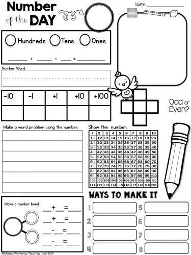This set of Number of the Day worksheets can be used during daily ...