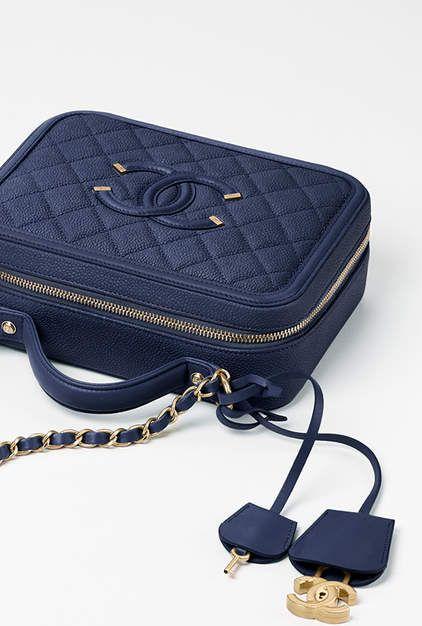 e74bcf788dba Vanity case, grained calfskin, lambskin & gold-tone metal-navy blue - CHANEL