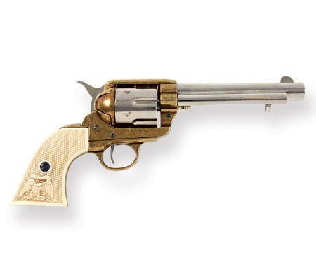 1873 Western Frontier Pistol Replica - Nickel / Gold