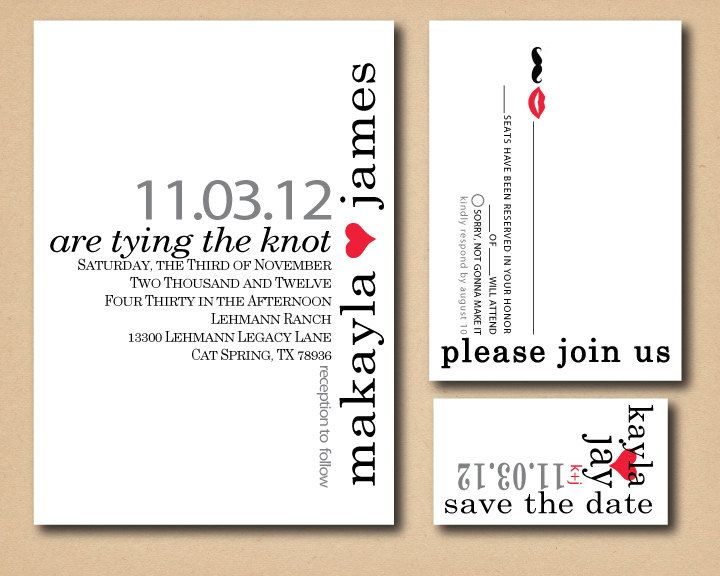 Love the layout & font - Printable Custom Wedding Invitation- Mustache and Lips. $27.50, via Etsy.