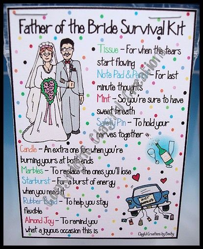 Father of the bride survival kit | Bridal shower ideas and crafts ...
