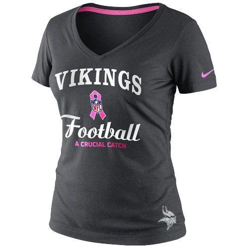 a1f9d2bd1e74f Nike Minnesota Vikings Women's Breast Cancer Awareness Team V-Neck T-Shirt  - Anthracite