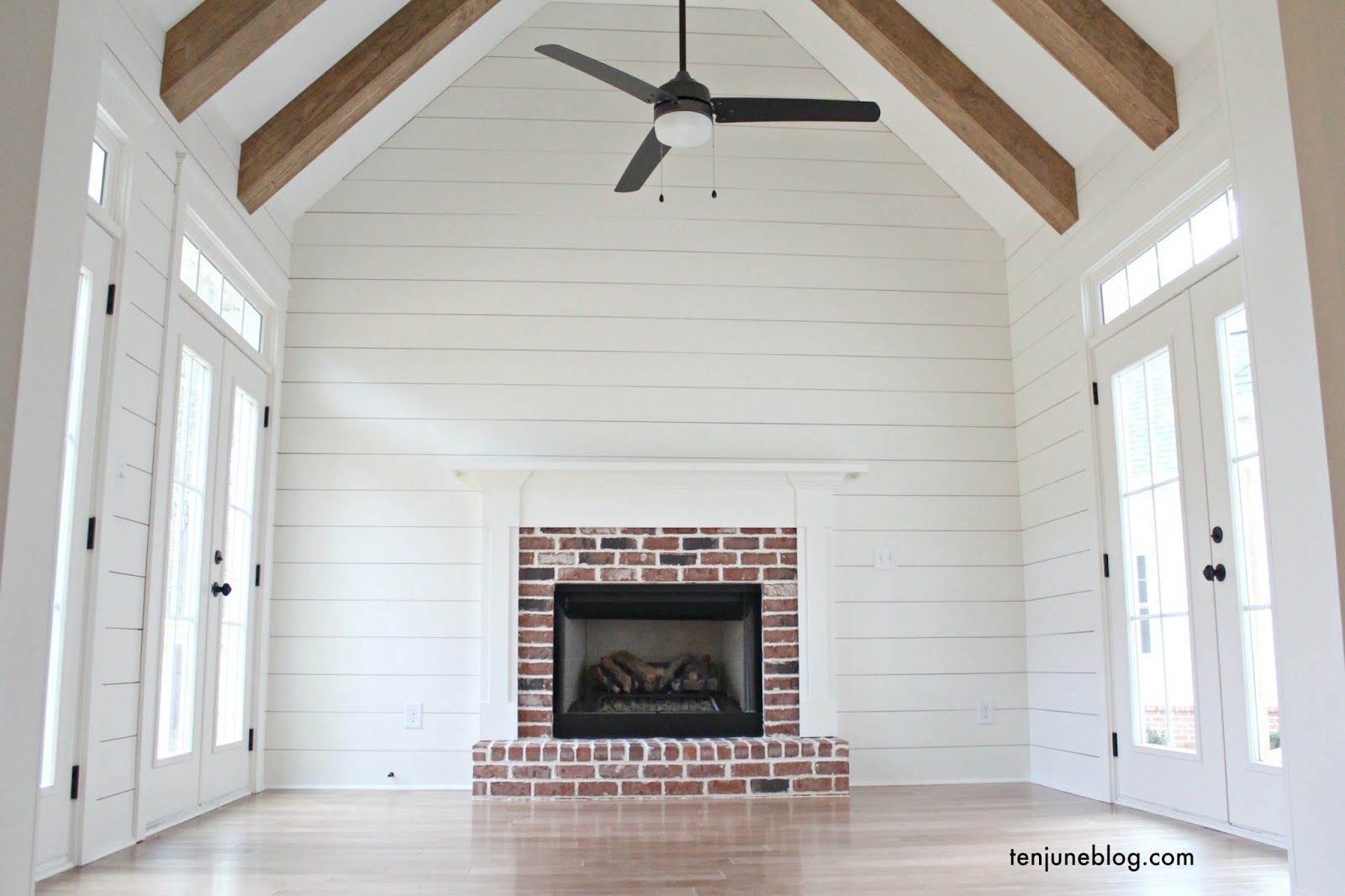 Ten June The Farmhouse A Tour Of Living Keeping Room Rustic Brick Craftsman Style Fireplace White Shiplap Walls Vaulted Ceiling With Wood
