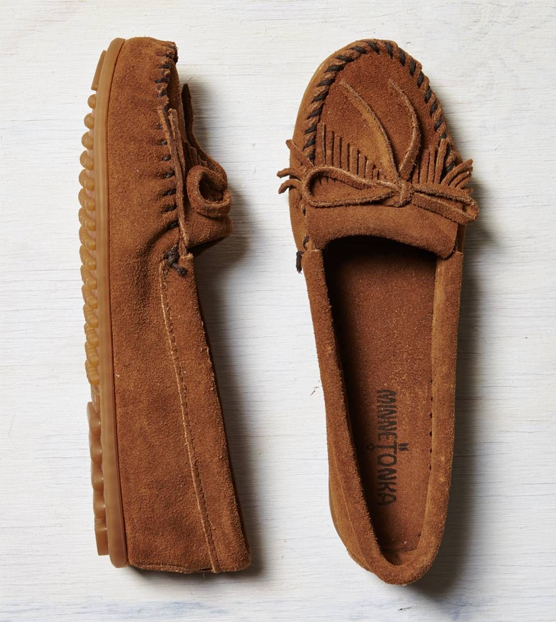Minnetonka Kilty Suede Moccasin Grey American Eagle Outfitters Suede Moccasins Shoes Minnetonka Moccasins