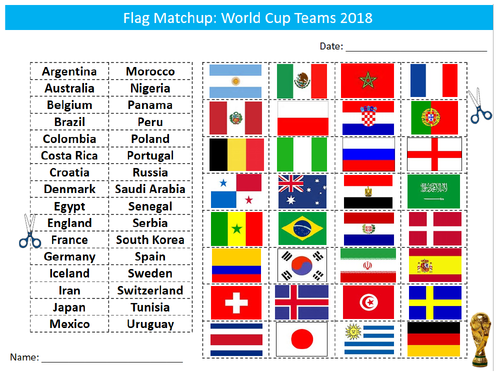 World Cup 2018 Country Flags Matchup Sheet Starter Activity Keywords Cover Pe Sport World Cup World Cup Games World Cup 2018